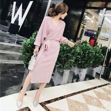 Elegante vestito abito rosa lungo morbido comodo maniche lunghe  3935