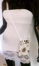 Flowers & Circles Print Messenger Shoulder HandBag Crossbody Women Black Bag