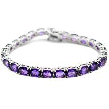 Natural Purple Amethyst Gemstone Sterling 925 Silver Tennis Bracelet