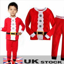 Christmas Santa Dress Unisex Childrens pyjamas set 2-7 Years Pure cotton UK