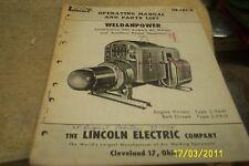 LINCOLN Weldanpower Generator Set Oper Manual 1954