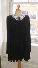 Baylis & Knight BLACK JERSEY  Lace Collar Long Sleeve SWING Dress Elegant Smock