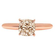 2.5 Cushion Designer Statement Bridal Classic Champagne Stone Ring 14k Rose Gold