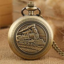 Antique Bronze Locomotive Men's Quartz Analog Pocket Watches Necklace Chain