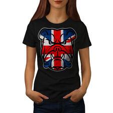 Wellcoda Brittish Bull Dog Flag Womens T-shirt, Puppy Casual Design Printed Tee