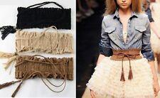 Vintage Femmes Fille Dentelle Franges Tassel élastique cinch ceinture large ceinture