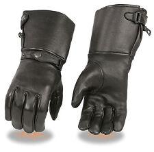 Black DEERSKIN Leather LONG GAUNTLET THERMAL Gloves Driving Motorcycle Biker