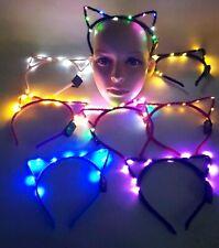 LED Lampeggiante Orecchie da Gatto Alice Band Dance Party Bag Festival Rave 10 batterie inc