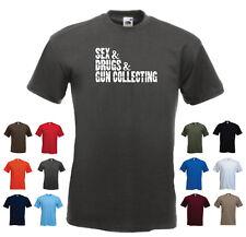 """Sex & Drugs & GUN COLLECTING"" Funny Men's Custom T-Shirt Tee"