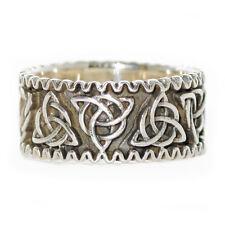 Plata esterlina sólida Triquetra Nudo Celta Pagano Wicca dedo anillo banda R023