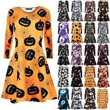 Womens Skull Pumpkin Cat Bat Spider Cobweb Witch Skater Mini Ladies Swing Dress