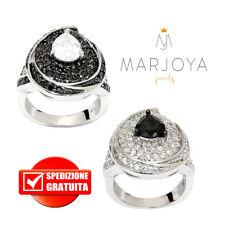 Anello goccia con zirconi bianchi e neri a contrasto in argento 925 rodiato