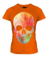 Aquarell Skull Damen T-Shirt Tee Top Geschenk Malen Farbe