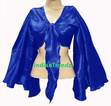 Royal Blue - Satin Tie Top Belly Dance Flair Wrap Choli Gypsy Haut Danse Blouse