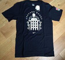 NEW Nike Mens Rugby Shirt RFU England T-Shirt short sleeve black UK Small