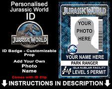 Jurassic World Personalised ID Badge Dinosaurs Cosplay Prop Costume Comic Con