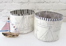 John Lewis Oilcloth Storage Basket Tub Maritime Nautical Boats Ticking Bathroom