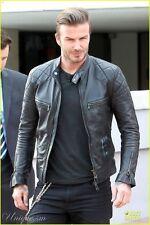 David Beckham Black Motorcycle Genuine Leather Slim Fit Biker Jacket