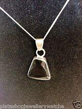925 Jet Black Onyx Silver Pendant Unique Shape Design Women Ladies Gift Present