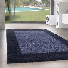 Design Poil Haut Tapis Shaggy Poil Long Bordure Motif Bleu Marine Bleu