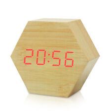 Vintage Alarm Clock Kids Travel With USB LED Digital Wooden Loud Voice Control