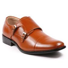 Men's Cognac Brown Double Monk Strap Oxford Dress Classic Shoes