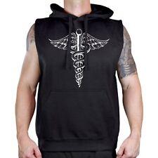 Men's Caduceus Symbol Black Sleeveless Vest Hoodie Medical Nurse EMT Doctor Cure