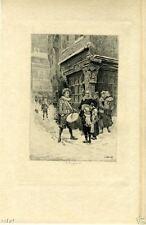 MAN WITH DRUM,VILLAGE SCENE~TG~1902 antique print