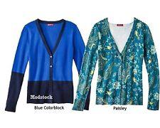 52K11 Choice Merona Ultimate V Neck Paisley or Blue Cardigan Sweater NWOT