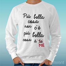 "FELPA UOMO LEGGERA SWEATER BIANCO "" PIU BELLA COSA DI ME FRASE FUNNY """