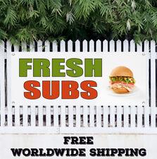 Fresh Subs Advertising Vinyl Banner Flag Sign Hamburgers Cheeseburgers Shop Bar