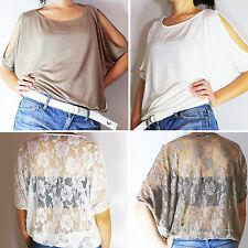 NEW Fashion WHT/KHAKI Women CASUAL Off Shoulder Blouse Dolman Sleeve Tops