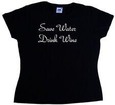 Risparmia acqua bere vino Divertente T-shirt DONNA