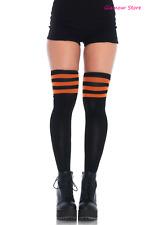 SEXY calze autoreggenti Atletiche Righe Nero/Arancione Lingerie Fashion GLAMOUR