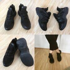 Women Black Mid Top Wedge Trainer Sneaker Pump Sport Boot Shoe Size