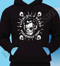 Psychobilly Hoodie Hoody Rockabilly Biker Rock & Roll Skull Punk Heart Soul 50's