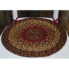 New Cinnamon Braided Jute Chair Pad Set Country Red/Green/Brown/Tan