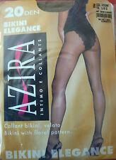 AZIRA Collant Beige Lycra Fin 20 den. culotte dentelle brésilienne T 1/2, 3, 4