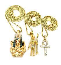 Anubis Egyptian God Ankh Cross Key of Life African Pendant Charm Necklace Set
