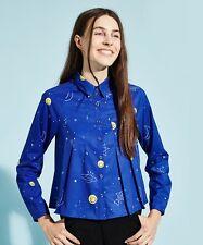 THE WHITEPEPPER Hipster Blue Rocket Constellation Print Pleat Shirt