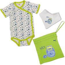 PUMA BABY STRAMPLER SET STRAMPELANZUG BODY +  HALSTUCH + BEUTEL WEISS GRÜN BLAU