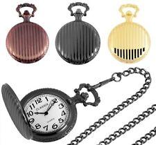 CLASSIX Taschenuhr Metall Sprungdeckel Kette in 3 Farben: Gold Kupfer Schwarz