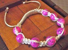 Bracelet ajustable Perles roses en verre cordon blanc règlable cadeau shamballa