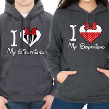 I LOVE MY GIRLFRIEND / BOYFRIEND COUPLE MATCHING VALENTINE'S DAY GRAY HOODIE