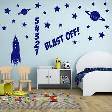 ROCKET Wall Sticker Boys Bedroom Nursery Space Vinyl Art Decal Transfer x32
