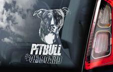 Pitbull on Board - Car Window Sticker - Pit Bull Terrier Dog Sign Decal - V04