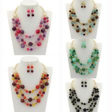 Fashion Women Resin Beads Pendant Chain Chunky Collar Statement Bib Necklace Set