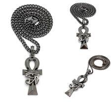 Pendant Box Cuban Chain Necklace New Egyptian Gun Black Ankh Cross