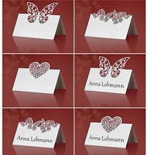 10 NOBILE SEGNAPOSTO CARTELLINO segnaposto matrimonio bianco Lasercut NUOVO