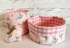 Handmade nursery storage basket tubs heart- Cath Kidston Garden Fairies L Ashley